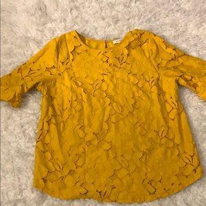 Mustard Lace blouse medium